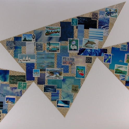 Abstract Blue Contemporary Large Art Collage - Blue Sea Sails