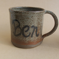 Customised Stoneware coffee mug, tea cup with glaze of your choice.
