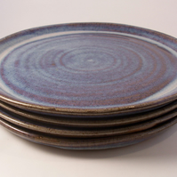 Made to order set of 6 large dinner plates. Glazed in blue beige.