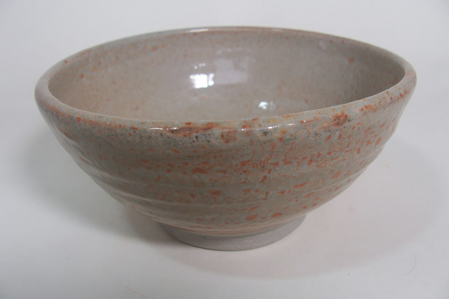 Breakfast bowl. With shino glaze. Ceramics stoneware pottery