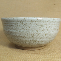 Noodle bowl. Glazed in speckled white.