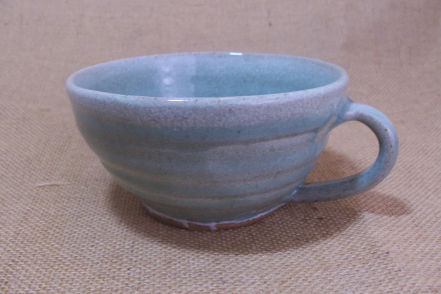 Stoneware Wide Coffee Mug Tea Cup With Celadon Over Speckled White Glaze