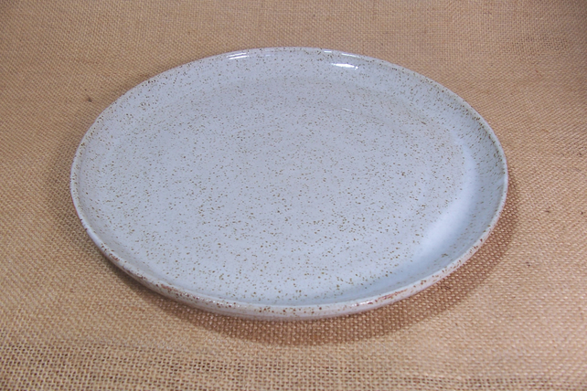 Made to order set of 4 large dinner plates. Glazed in Speckled white.