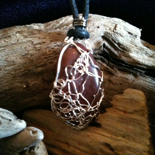 Knitted Wire Wrapped Pebble Pendant