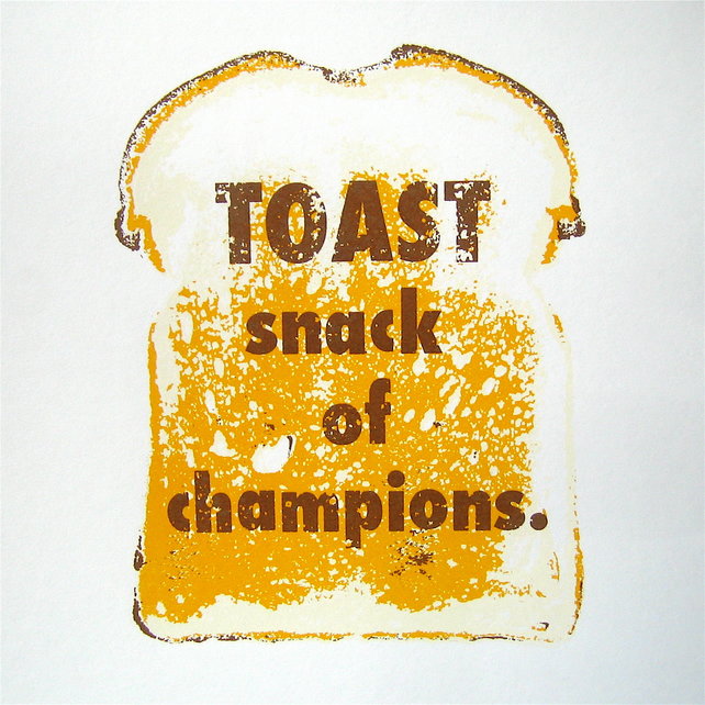 Toast Snack of Champions Art Print Original Signed Limited Edition Screenprint