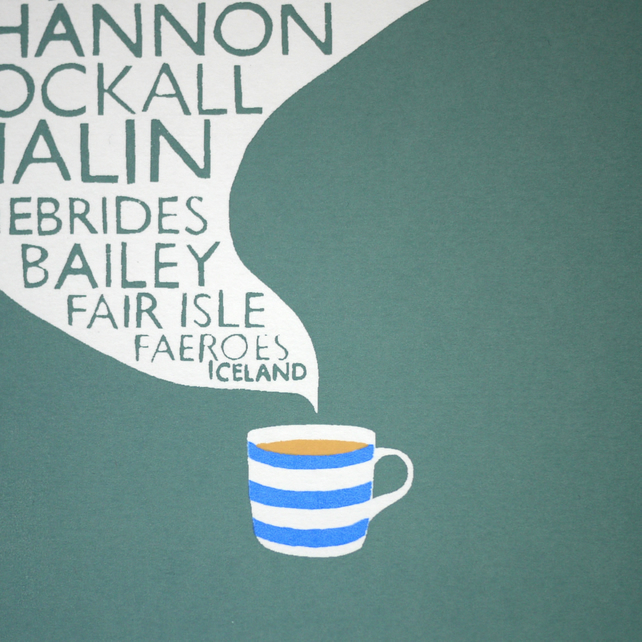 Shipping Forecast & Cuppa Original Screen Print Typography Tea Screenprint