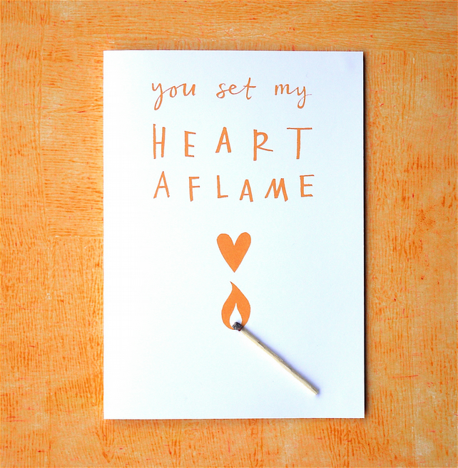 Romantic You Set My Heart Aflame Love Card Typography Orange Unisex Match