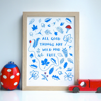 Thoreau All Good Things Are Wild & Free Limited Edition Art Print Motherhood