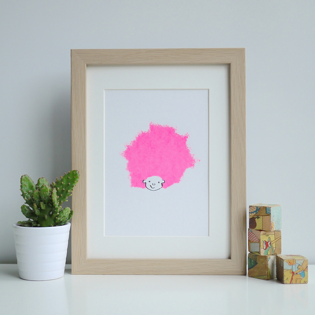Candy Floss Hair Pink Neon Kids Mini Screenprint Sweet Cute Baby Kids Afro