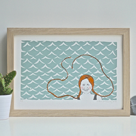 Swimming Girl Screen Print Art Ginger Redhead Plaits Sea Open Water Pippi