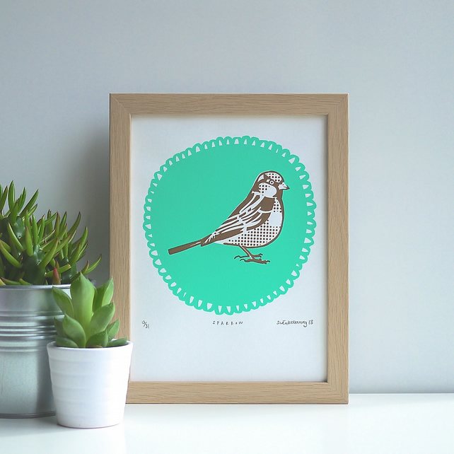 Sweet Birdie Original Limited Edition Art Screen Print Screenprint Turquoise
