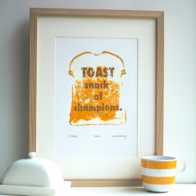 Toast Snack of Champions Art Signed Limited Edition Screenprint Print Dad