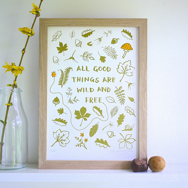 Thoreau All Good Things Are Wild & Free Quote Art Screen Print Father's Day