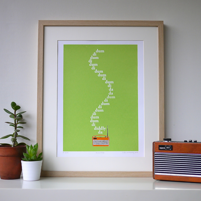 Art Screen Print The Archers BBC Radio 4 Theme Tune Roberts Father's Day