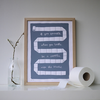 Typography Loo Art 'If You Sprinkle When You Tinkle' Print Mum MOB Dad Grey
