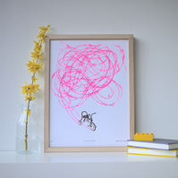 Retro Art, Colourful Tricycle Screenprint, Nostalgic Print - Freewheeling Pink