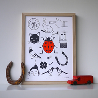 Lucky Things Art Screen Print Limited Edition Red Black Good Luck