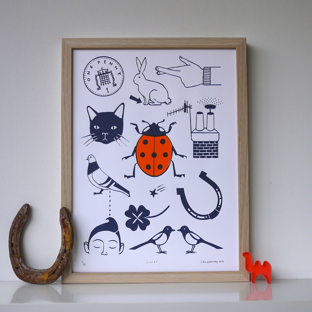 Lucky Things Art Screen Print Limited Edition Orange Blue