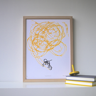 Vintage Art, Whimsical Tricycle Screenprint, Kids Room Art - Freewheeling