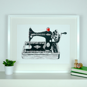 Original Limited Edition Art Screenprint Antique Singer Sewing Machine Craft