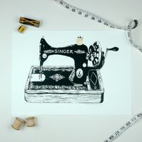 Gold 24ct Art Print Screenprint Antique Sewing Machine Luxury Singer Seamstress