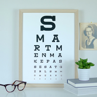 Smart Men Make Passes At Girls Who Wear Glasses Eye Test Chart Art Screen Print
