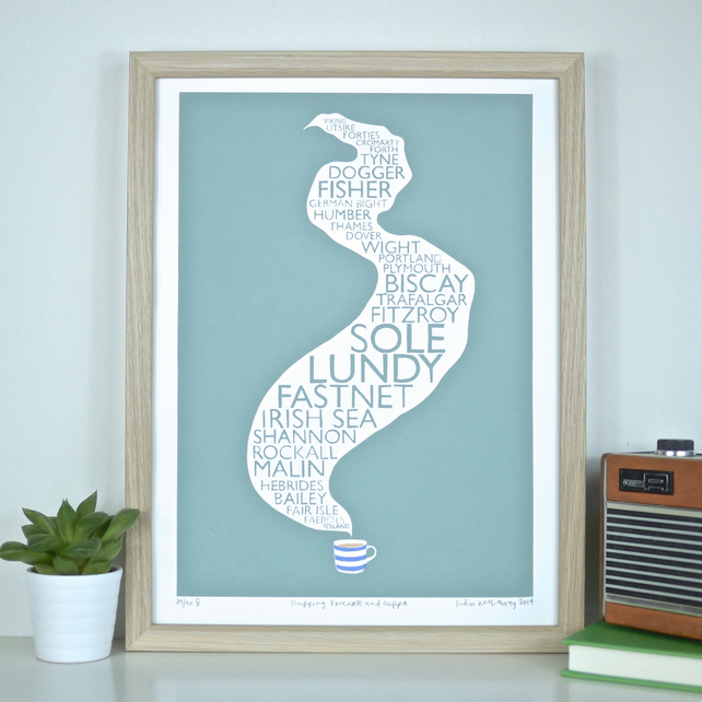 Shipping Forecast & Cuppa Original Screen Print Tea Screenprint Art Radio 4