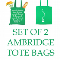 Set of 2 Ambridge The Archers Shopping Bags Tote Gift Idea BBC Radio 4