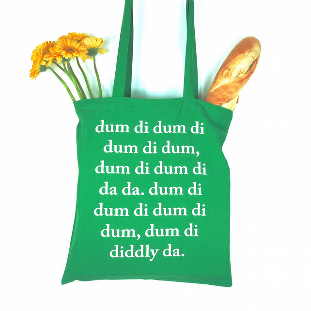 The Archers Typographical Shopping Bag Tote Green Gift BBC Ambridge