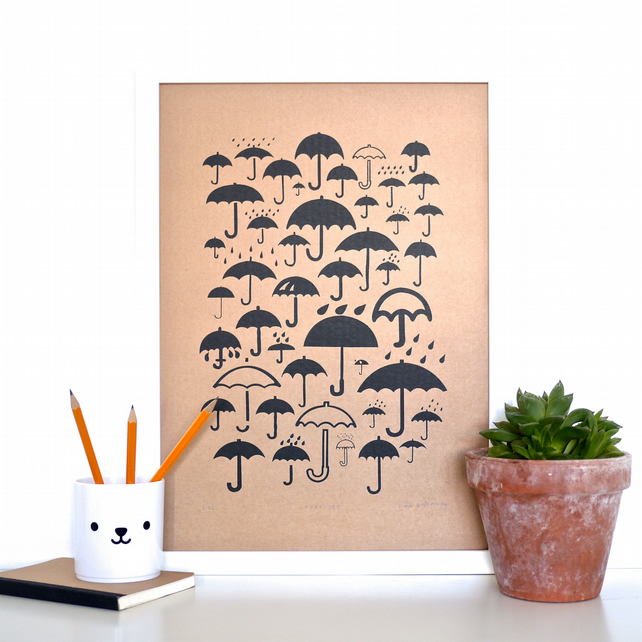 Umbrella Symbols Keep Dry Icons Screen Print on Cardboard Wall Art Screenprint