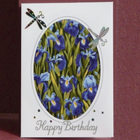 Irises and dragonfly birthday card