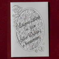 Padded lace silver wedding congratulations