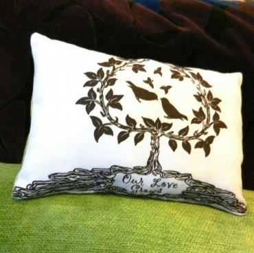 LOVE BIRDS IN A TREE 'OUR LOVE GROWS' LAVENDER PILLOW