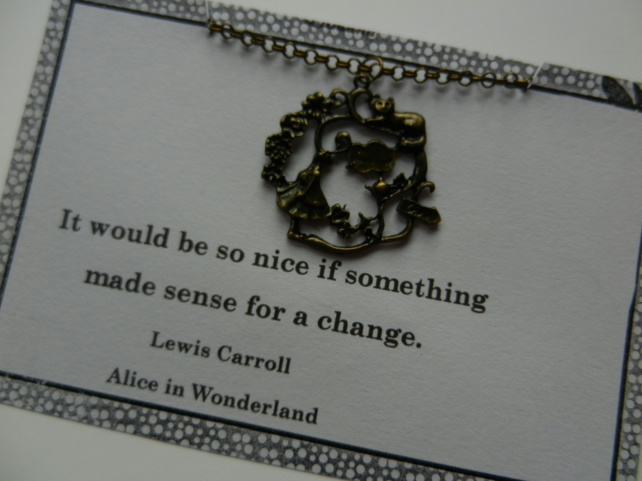 Alice in Wonderland Pendant Necklace Cheshire Cat Necklace Vintage Bronze Necklace