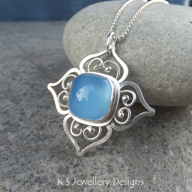 Chalcedony Sterling Silver Flower Pendant - Square Blossom - Handmade Metalwork