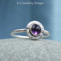 Amethyst Sterling Silver Stacking Gemstone Ring - READY TO SHIP size M size 6.25