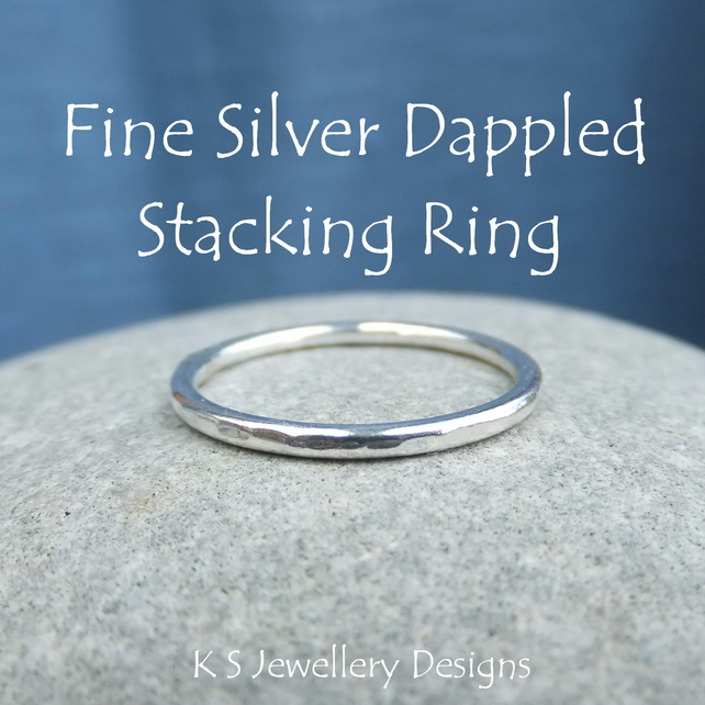 Fine Silver Stacking 1.5mm Ring - DAPPLED TEXTURE - Handmade Metalwork Jewellery