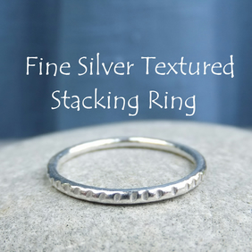 Fine Silver Stacking 1.5mm Ring - TEXTURED - Handmade Metalwork Jewellery