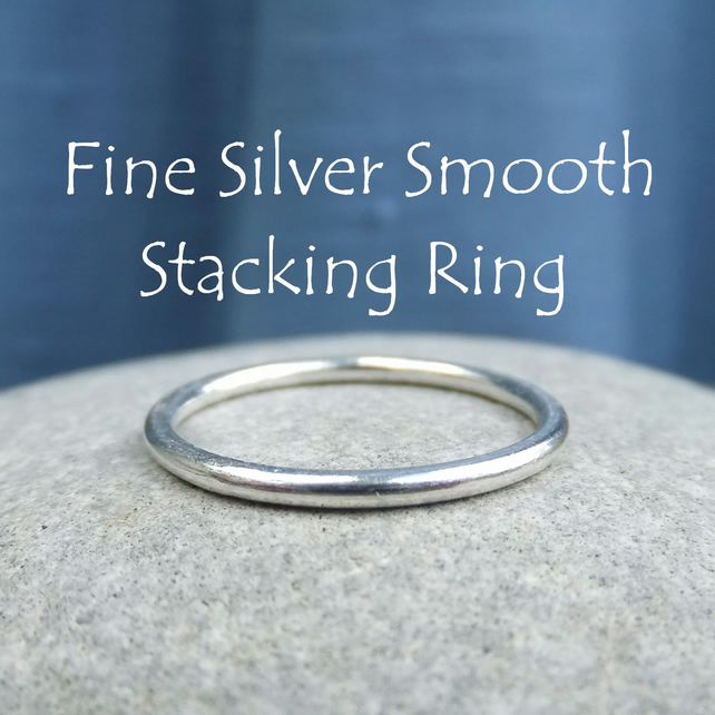 Fine Silver Stacking 1.5mm Ring - SMOOTH - Handmade Metalwork Jewellery