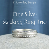 Fine Silver Stacking Ring Trio - Dappled, Smooth & Textured - Bright or Oxidised