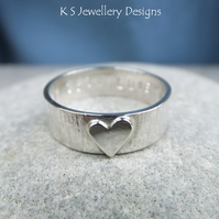 Sterling Silver Bark Texture Ring - Little Heart - Personalised Stamped Message