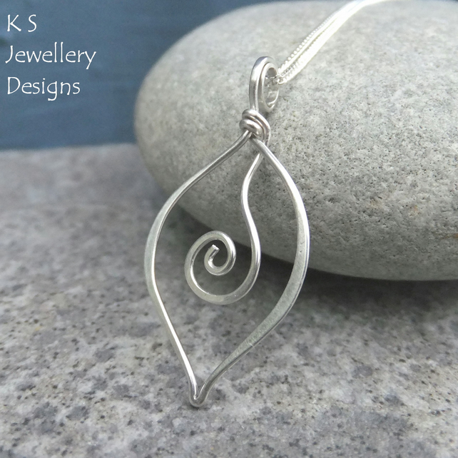 Sterling Silver Leaf Pendant - SWIRL LEAVES - Handmade Wire Wrapped Wirework