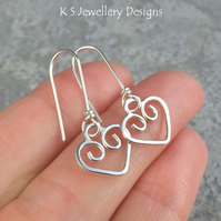 Sterling Silver Heart Charm Earrings - Wire Hearts - Love Romance Handmade