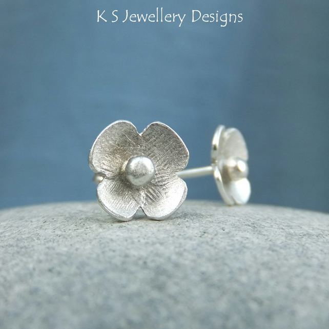 Sterling Silver Stud Earrings - Rustic Blossoms 1 - Handmade Textured Flowers
