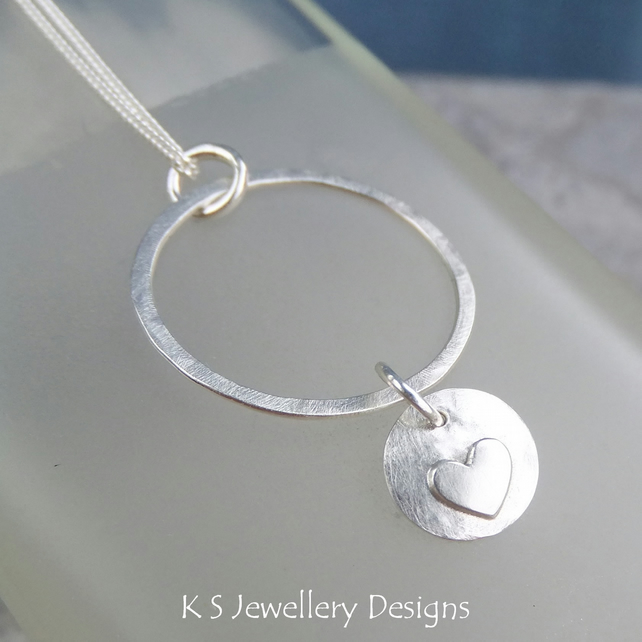 Sterling Silver Circle Pendant - HEART DISC CHARM - Handmade Metalwork Necklace