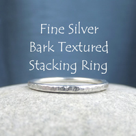 Fine Silver Stacking 1.5mm Ring - BARK TEXTURED  - Handmade Metalwork Jewellery