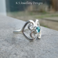 Apatite Fine Silver Double Hearts Ring - Wraparound Ring - Metalwork Jewellery