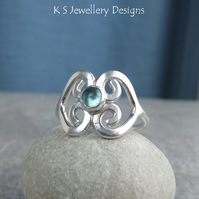 Apatite Fine Silver Double Hearts Ring - Wraparound Metalwork Ring - UK Size N
