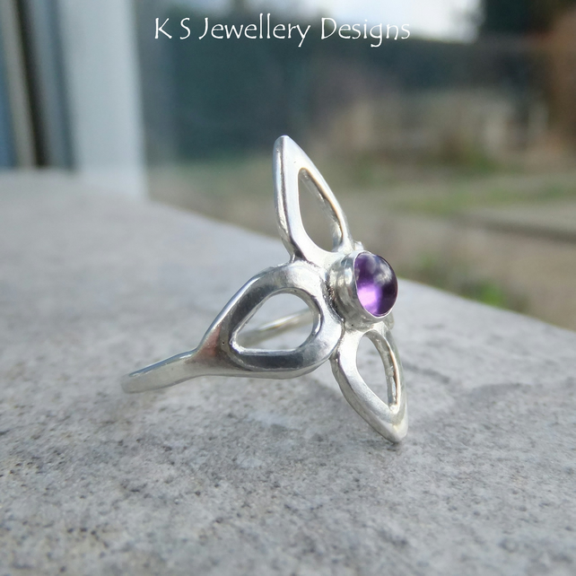 Amethyst Fine Silver Flower Ring - Wraparound Metalwork Ring - UK size O
