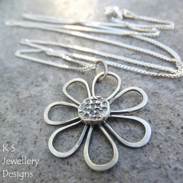 Sterling Silver Pendant Necklace - Rustic Daisy - Handmade Metalwork Wire Flower